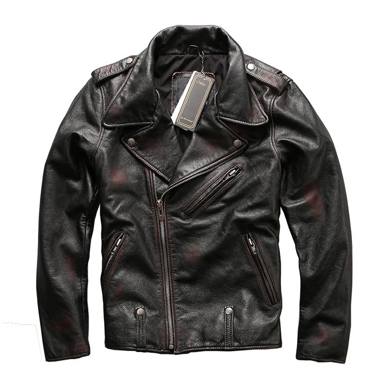 HARLEY DAMSON Dell'annata Degli Uomini di Colore Diagonale Zipper Moto Giacca di Pelle Pelle Bovina Reale Russo Slim Fit Biker In Pelle Cappotto