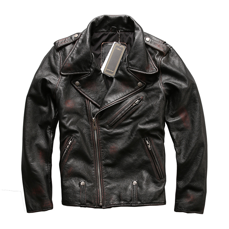 HARLEY DAMSON Vintage Negro hombres Diagonal cremallera motocicleta chaqueta de cuero de vaca Real ruso Slim Fit Biker abrigo de cuero-in Abrigos de cuero genuino from Ropa de hombre    1