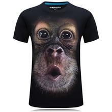 2017 Лето для мужчин животных Футболка орангутан/Газ Обезьяна/Волк 3d печатных футболки для мужчин Забавные Молодежные футболки футболка большой размеры