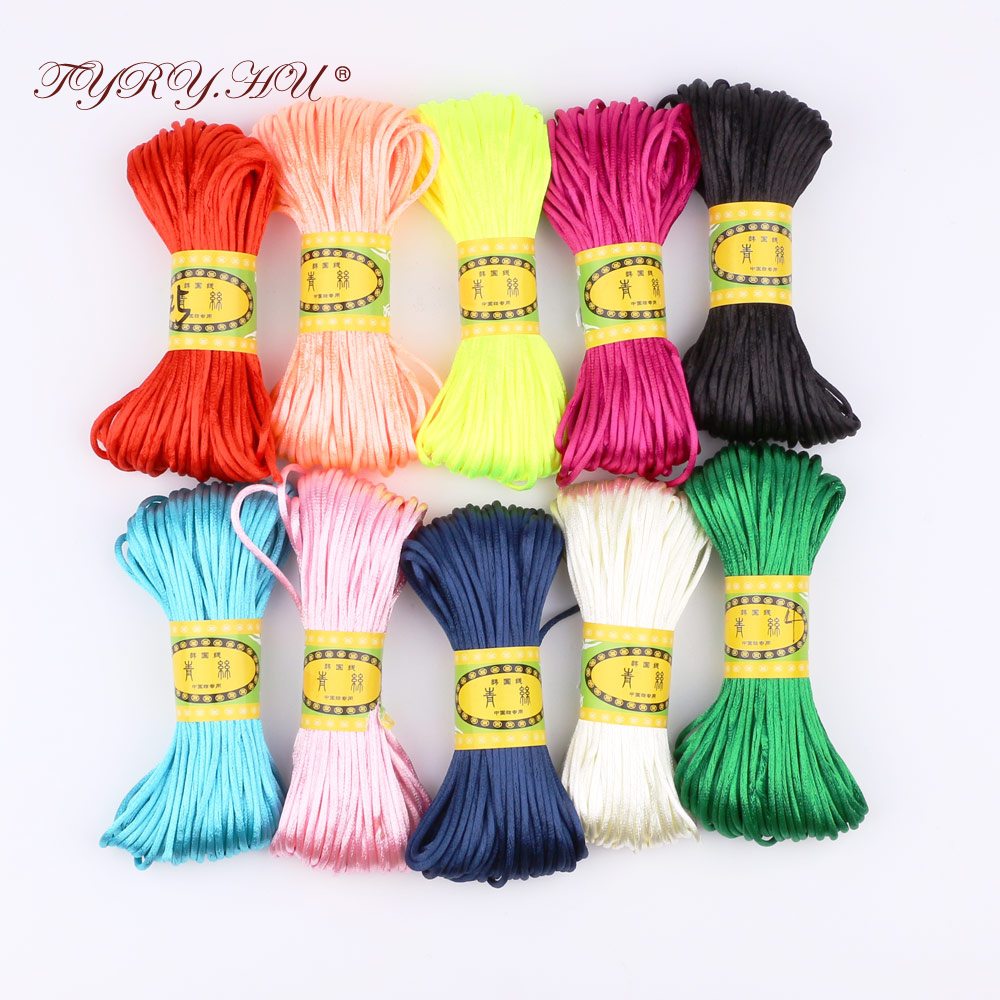 TYRY.HU Baby 20 meters Satin Silk Rope Nylon Cord for Baby Mom Jewelry Making Teething Necklace Rattail Cord