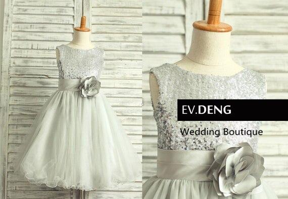 Настоящее цельнокроеное платье без рукавов с блестками для девочек на свадьбу; коллекция года; vestido de noiva; платье для выпускного вечера; Лидер продаж; - Цвет: Серебристый