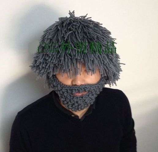 NEW Winter 100% Handmade Knitted Hat Wig Mustache Beard Gray Creative Warm  Fun Crazy knitted Ski Beanie for Kid Child   Adult 4d6b3566d05