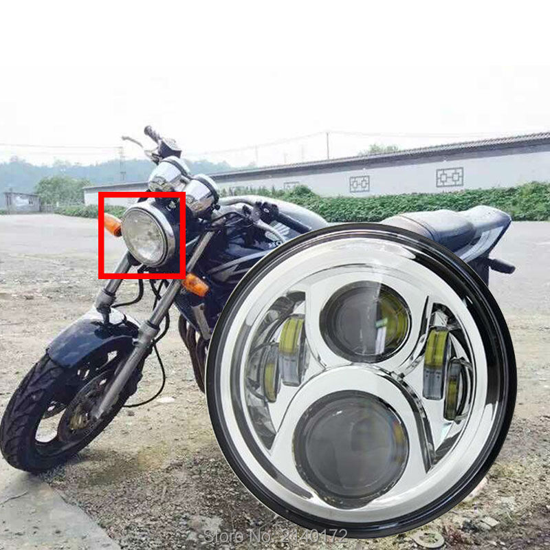 2017 newest 7 39 39 inch round motorcycle headlight 6000k 75w. Black Bedroom Furniture Sets. Home Design Ideas