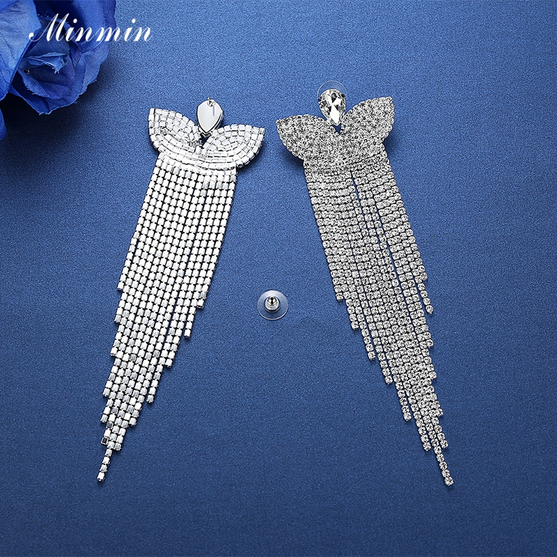 Minmin Silver Color Crystal Bridal Big Long Earrings Butterfly - Fashion Jewelry - Photo 4