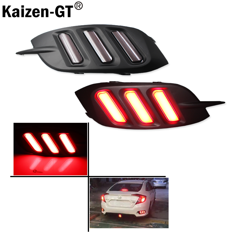 JDM Fluid Smoked Red  LED Rear Bumper Reflector, Rear Fog Light Kit For 2016-up Honda Civic Sedan (Excluding Hatchback)