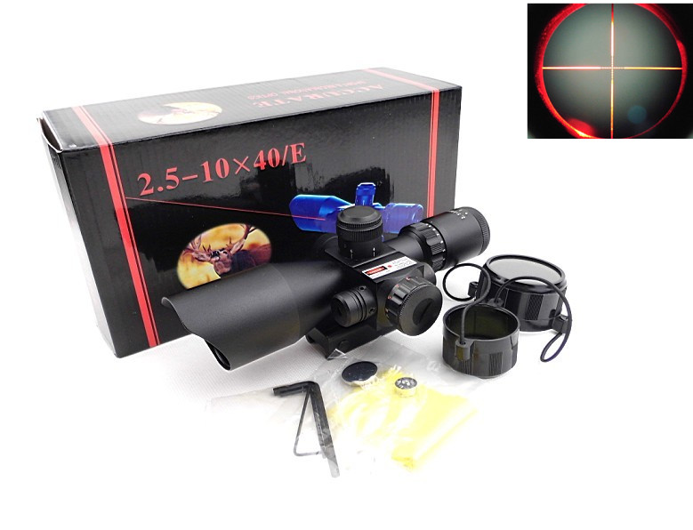2.5-10X40 Illuminated Air Weapons Chasse Rifle Scope with Mil-Dot Reticle and side mounted red laser scope Optics Rifle Pistol котелок primus primus alutech 1 2 л 1 2л