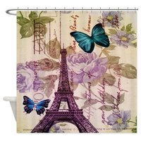 Blue Butterfly Modern Paris Eiffel Tower Shower Cu Decorative Fabric Shower Curtain 8 Sizes Shower Curtain