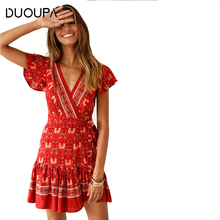 DUOUPA 2019 New Fashion V-neck Sexy Bohemian Floral Print Womens Dress Loose Boho Chic Summer Beach