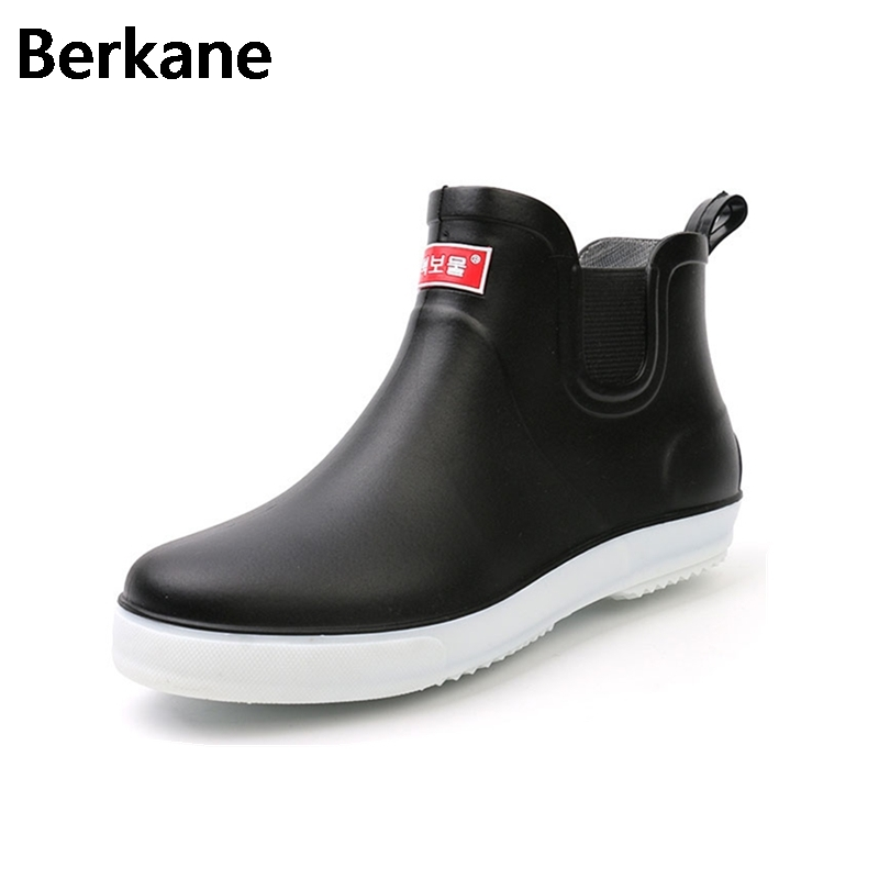 Men's Shoes Shoes Spring And Summer Men Short Tube Rain Boots Ankle Rubber Boot Elastic Band Non-slip Waterproof Rainday Water Shoes