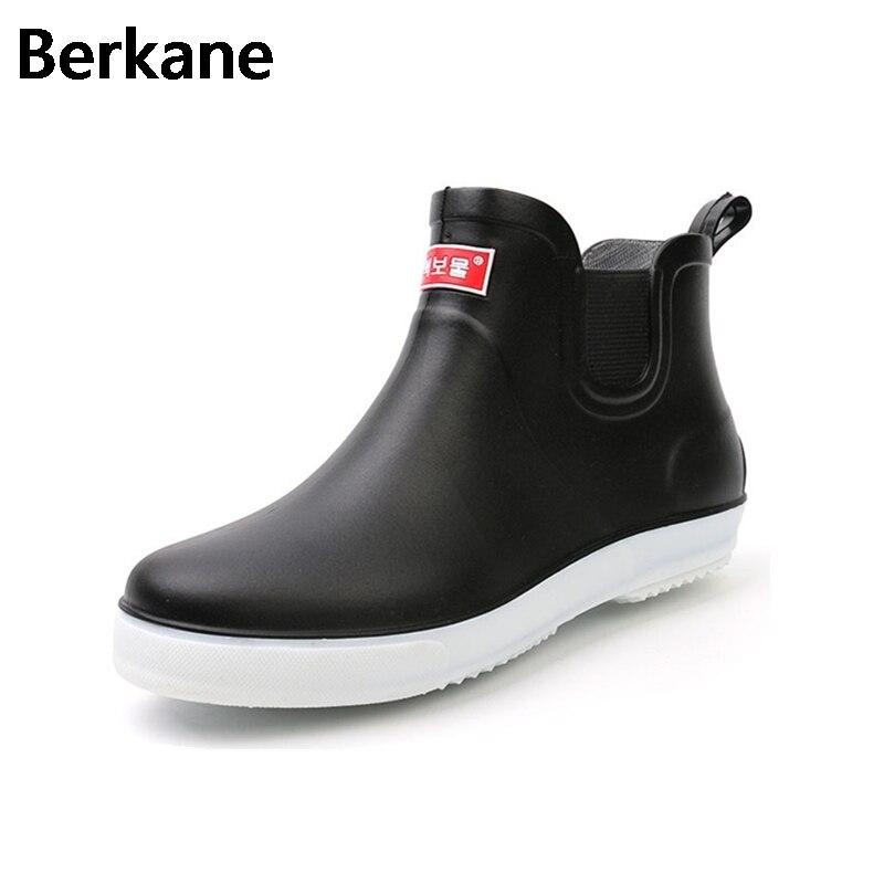 Black Rubber Rain Boots Mens Pvc Slip On Anti slip Casual Ankle Rainboots Short Water Shoes Waterproof Breathable Botas Hombre