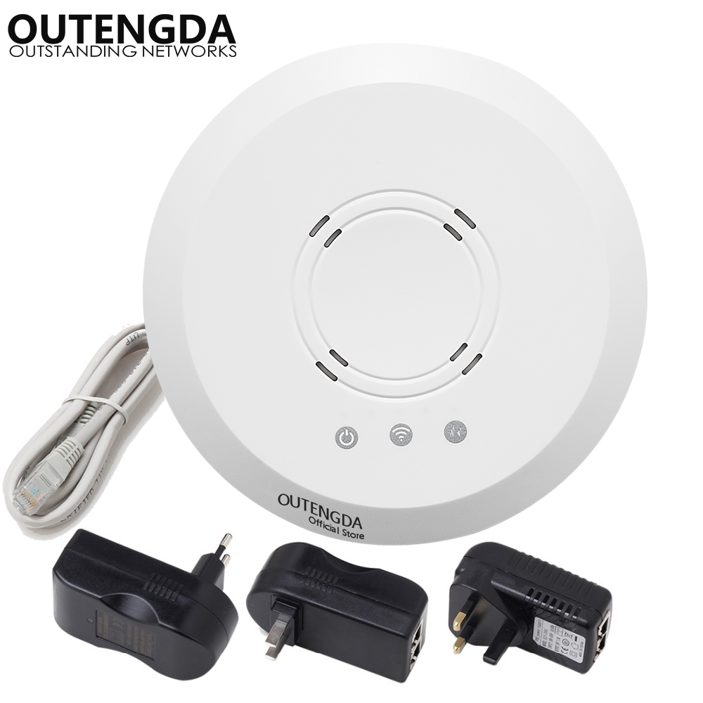 US $47 38 |24V PoE RJ45 300Mbps ceiling wireless wifi router 500mw high  gain ceiling AP/bridge/router/repeater wireless access point-in Wireless