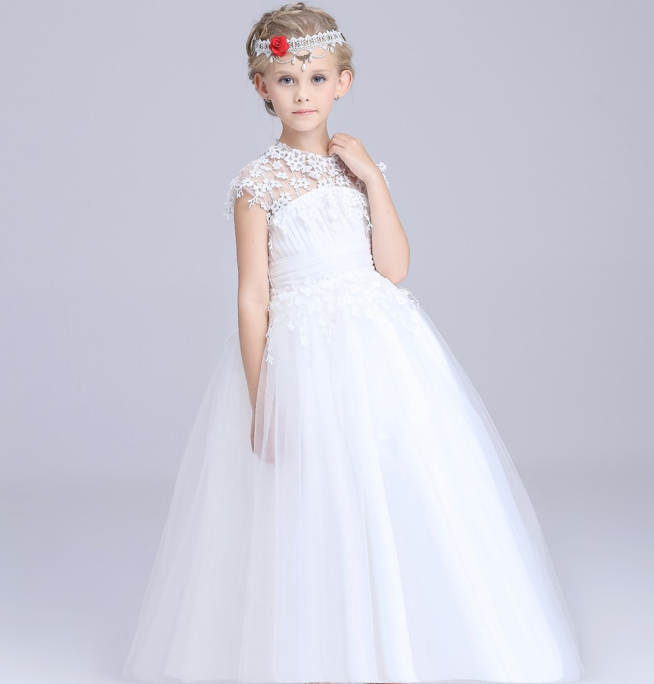 New Pattern Girls Lace Wedding Dress Thick And Disorderly Dress Korean Embroidery Flower Girl Full Dress LonguetteNew Pattern Girls Lace Wedding Dress Thick And Disorderly Dress Korean Embroidery Flower Girl Full Dress Longuette