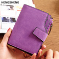 HENGSHENG top quality famous brand 2016 women leather wallets ladies small slim purple wallet girl flip money holder card case