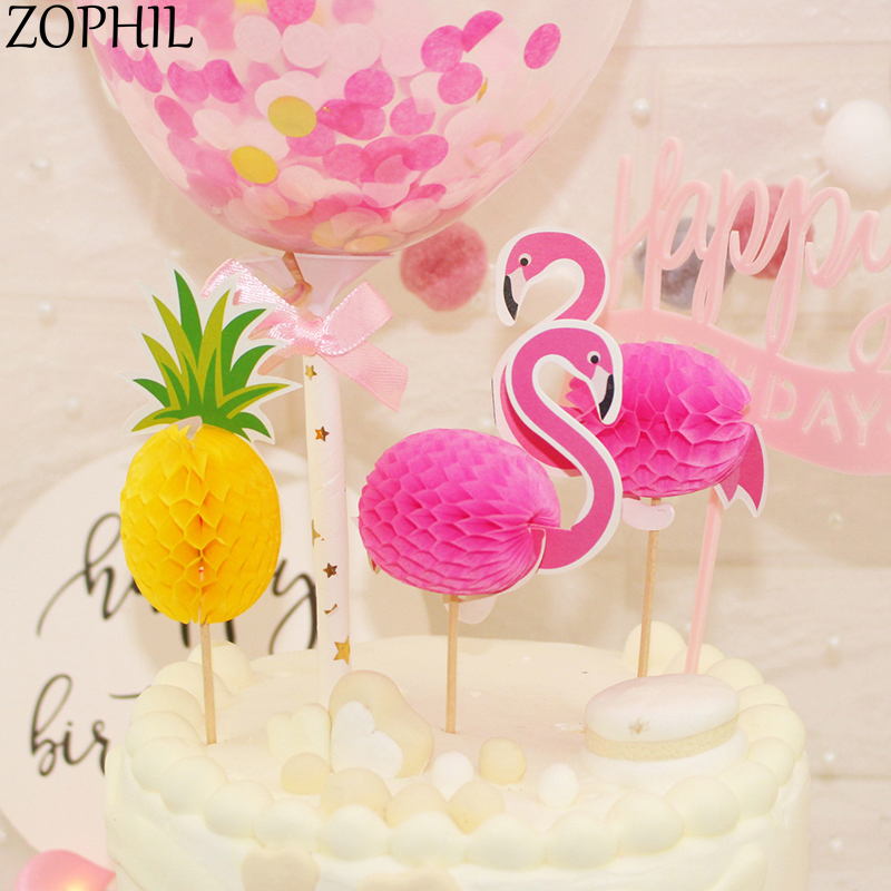 zophil 4pcs flamingo cake topper wedding party baking decoration bridal shower supplies events candy bar accessories