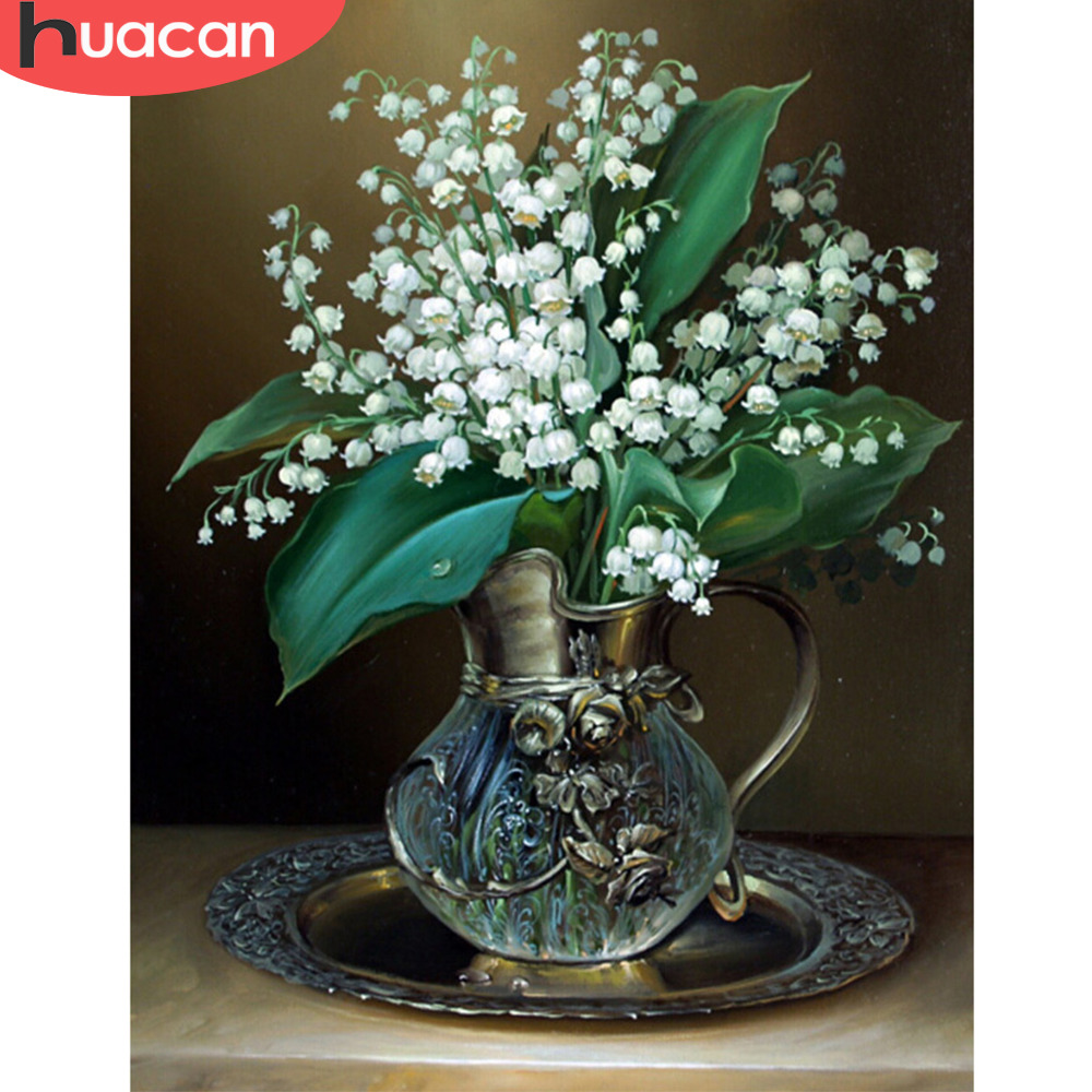 HUA CAN white Russia flower 5d diamond painting for living room cross stitch diy mosaic popular handmade crafts