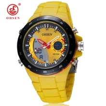OHSEN брендовые модные цифровые кварцевые мужские наручные часы с силиконовым ремешком с желтым циферблатом водонепроницаемые уличные спортивные часы Подарки