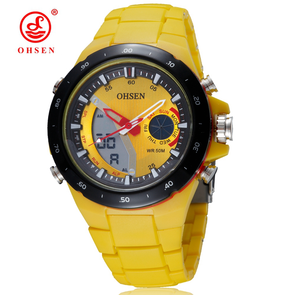 Wholesale OHSEN Brand Fashion Digital Quartz Men Wristwatch Silicone Strap Yellow Dial Waterproof Outdoor Sport Watches Gifts|gift gifts|gift men|gifts watch - title=