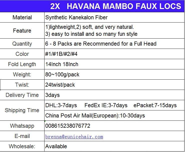 2X MAMBO FAUX LOCS 14 \