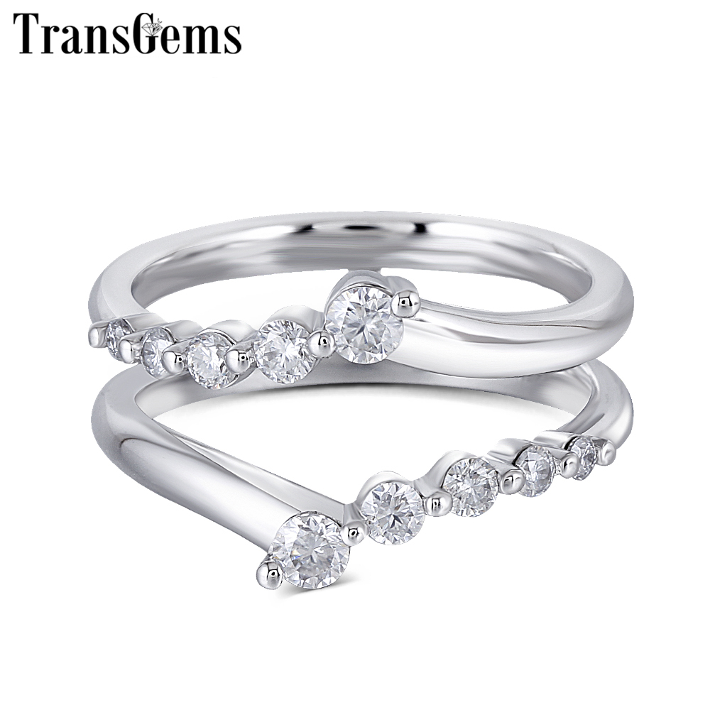 Transgems Solid 14K 585 White Gold Ladies Wedding Ring F Color Moissanite Ring for Women Stackable