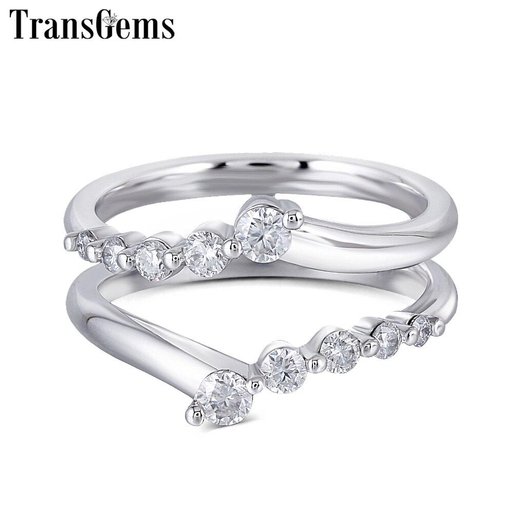 Transgems 솔리드 14 k 585 화이트 골드 숙녀 결혼 반지 f 컬러 moissanite 반지 1ct 반지에 대한 쌓을 수있는 웨딩 밴드-에서반지부터 쥬얼리 및 액세서리 의  그룹 1