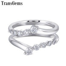 Transgems Solid 14K 585 White Gold Ladies Wedding Ring F Color Moissanite Ring for Women Stackable Wedding Band for 1ct Ring