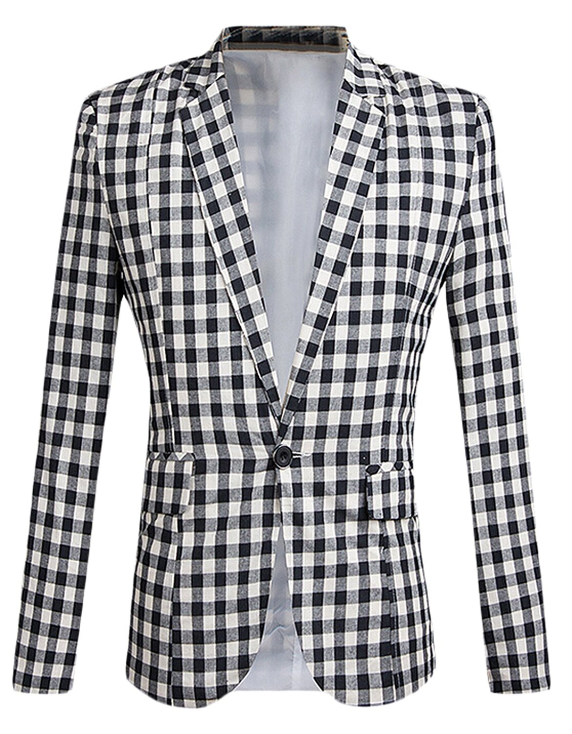 WANSHIYISHE Mens Fashion Checkered Slim Suits