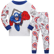 Spiderman Toddler Pajamas Kids Sleepwear Long Sleeve Captain America Baby Cotton Autumn Boy Iron Man Clothes 2 7Years Mickey(China)