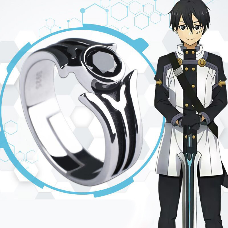 New Anime Sword Art Online Kirigaya Kazuto Ring 925 Sterling Silver Jewelry Cosplay Accessories