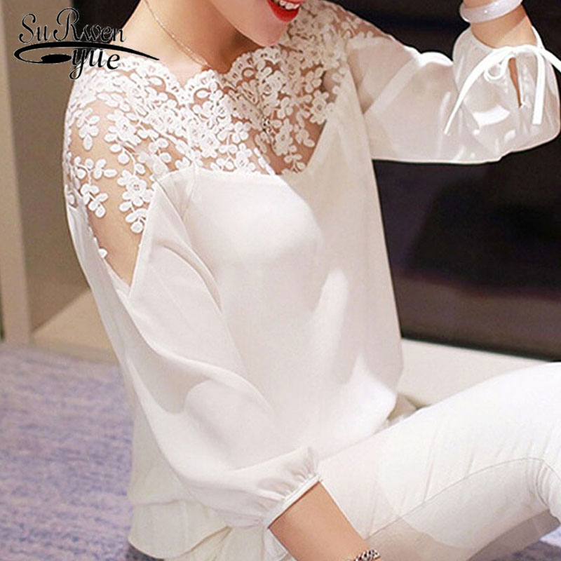 Fashion women tops and   blouses   blusas mujer de moda 2019 lace chiffon   blouse   Slash neck white   blouse     shirt   ladies tops 4274 50