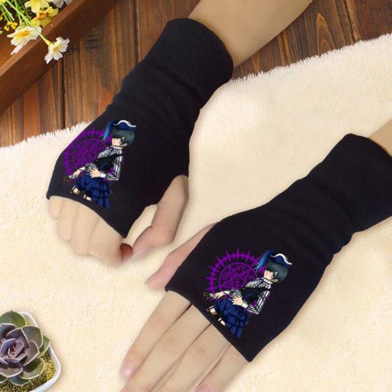 1 Pair Lovely Anime Black Butler Kuroshitsuji Gloves Half-fingered Gloves Knitted Mittens Cosplay Plush Toy
