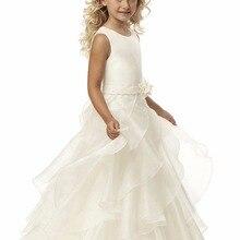 Новые брендовые Платья с цветочным узором для девочек белое/цвета слоновой кости; платье для торжеств; платье для причастия детское платье для свадьбы для маленьких девочек