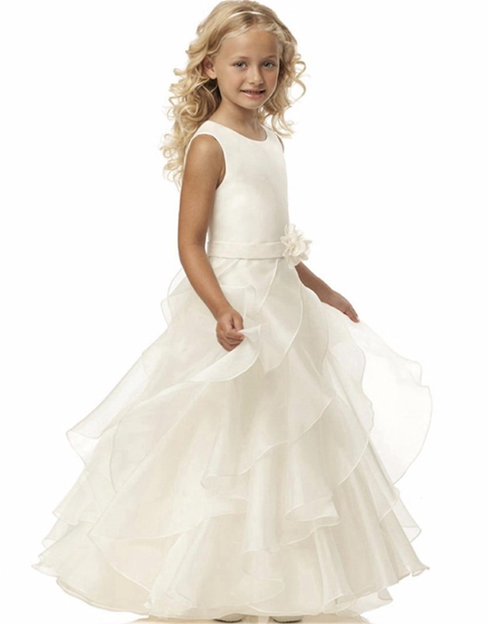 2016 Brand New   Flower     Girl     Dresses   White/Ivory Real Party Pageant Communion   Dress   Little   Girls   Kids/Children   Dress   for Wedding