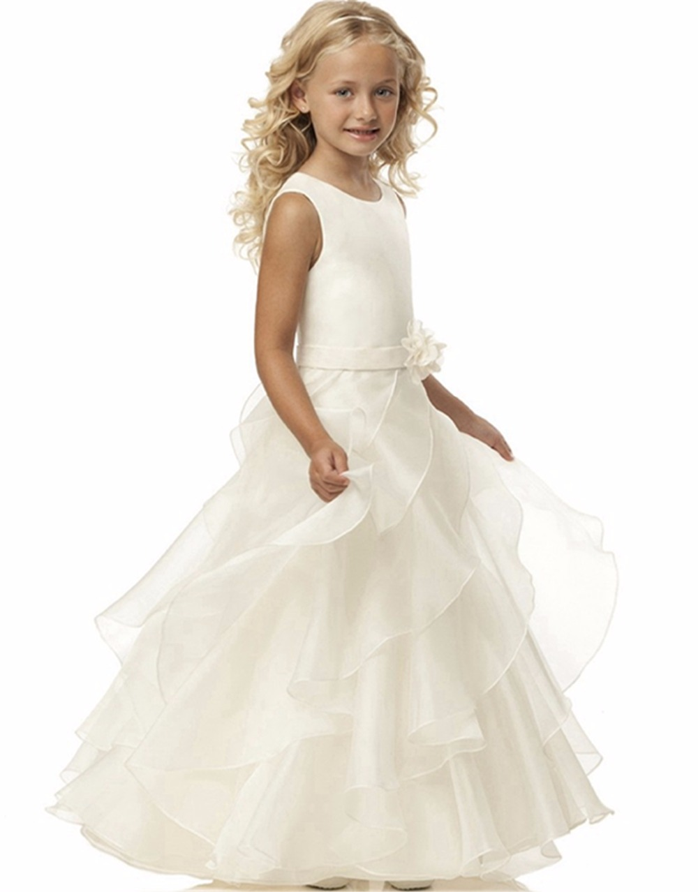 Brand New Flower Girl Dresses White/Ivory Real Party Pageant Communion Dress Little Girls Kids/Children Dress For Wedding