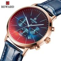 REWARD Fashion Luxury Sport Wrist Watch Men Genuine Leather Watches Japanese Quartz Waterproof Clock Military Relogio Masculino