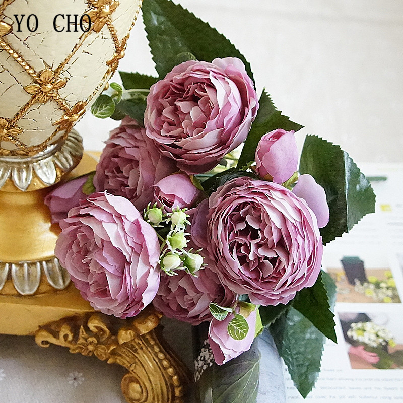 Beautiful Rose Peony Artificial Silk Flowers small bouquet flores home party spring wedding decoration mariage fake Flower (22)