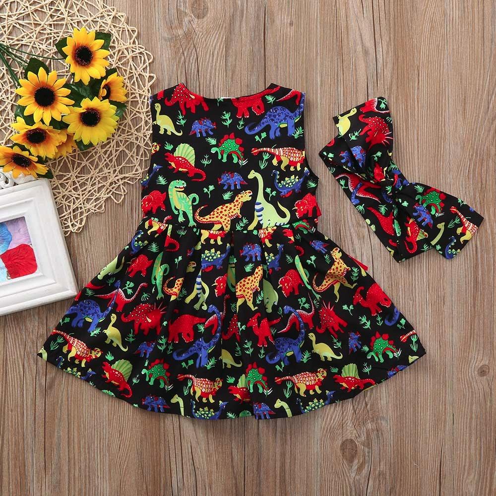 Clothing Sets Mother & Kids Toddler Baby Girls Cartoon Dinosaur Sleeveless Dress+headband Clothes Outfits Baby Girl Summer Clothes Kids Clothes #15