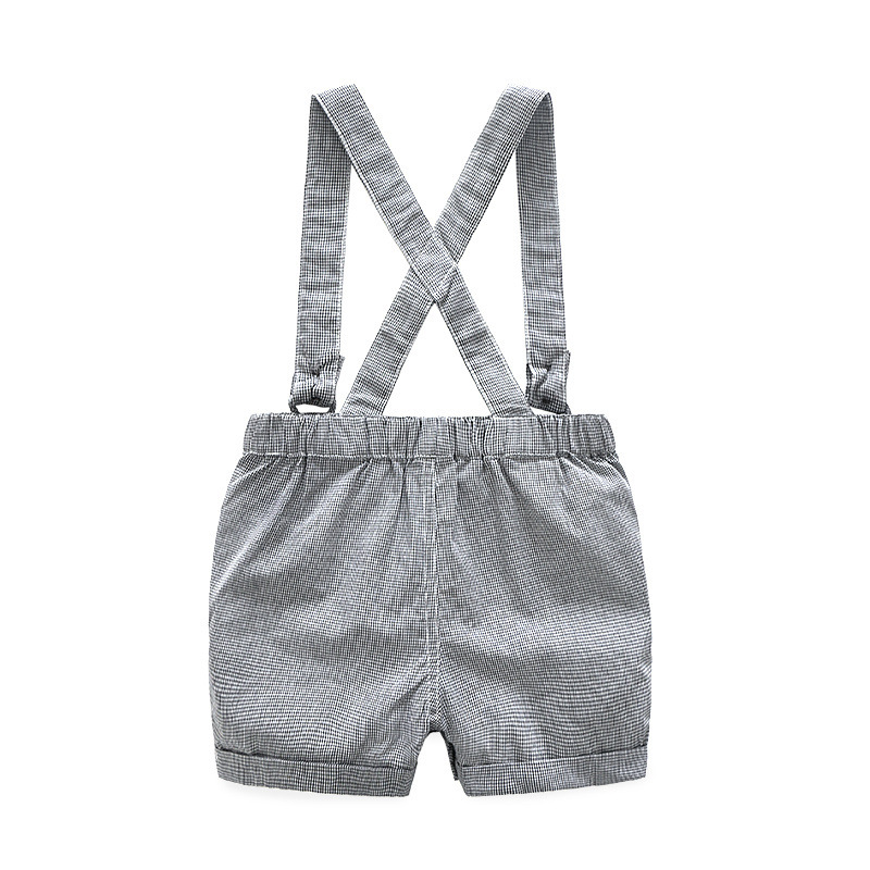 New Born Clothing Baby Boy Girl Animal Short Sleeve T-Shirt Tops+Grey Plaid Short Pants Outfit Casual Outfit Kids Rompers Sets 3