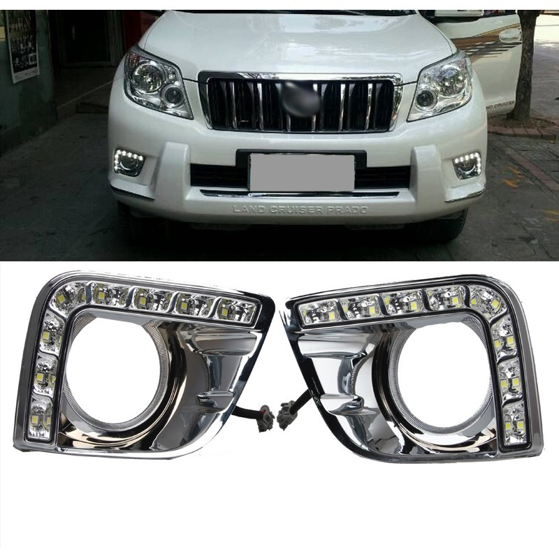 2x LED DRL CAR-Daytime Running Lights for 2010 2012 2013 TOYOTA PRADO LAND CRUISER 2700 LC150 FJ150 Car styling dimmed light function car led drl daytime running lights with fog lamp hole for toyota prado land cruiser fj150 lc150 2010 2013