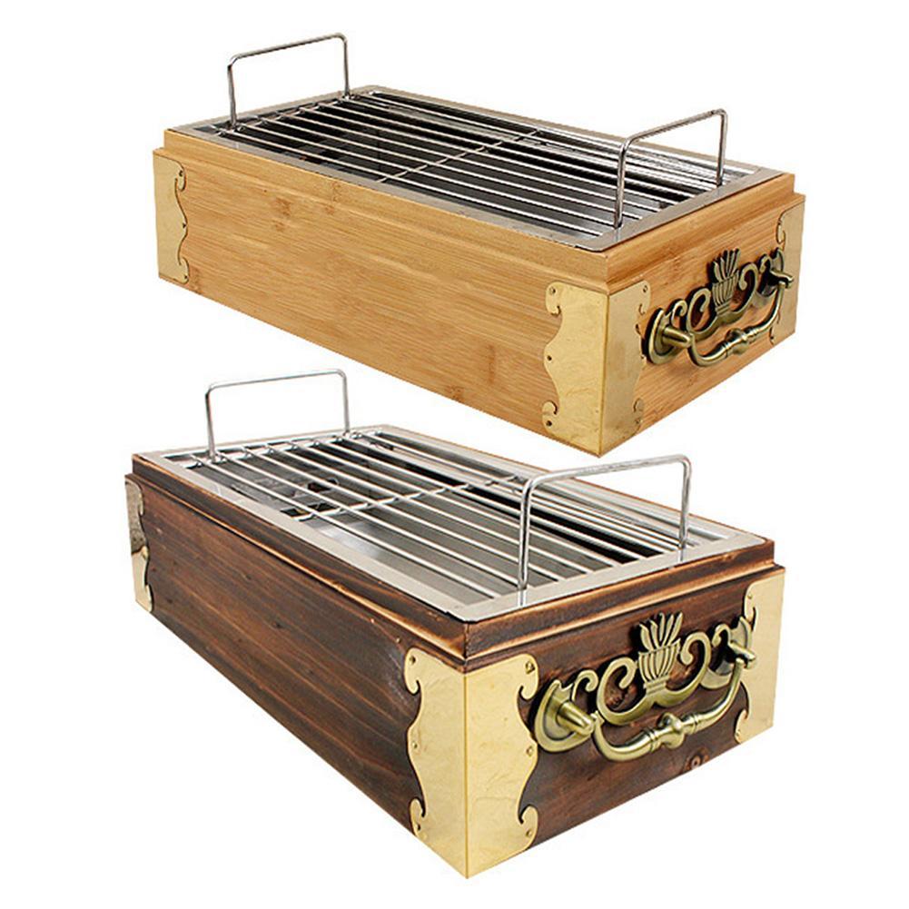 Japonais coréen Barbecue Grill nourriture carbone four Barbecue cuisinière cuisson four rétro en bois bambou Grill ménage Barbecue outils 4