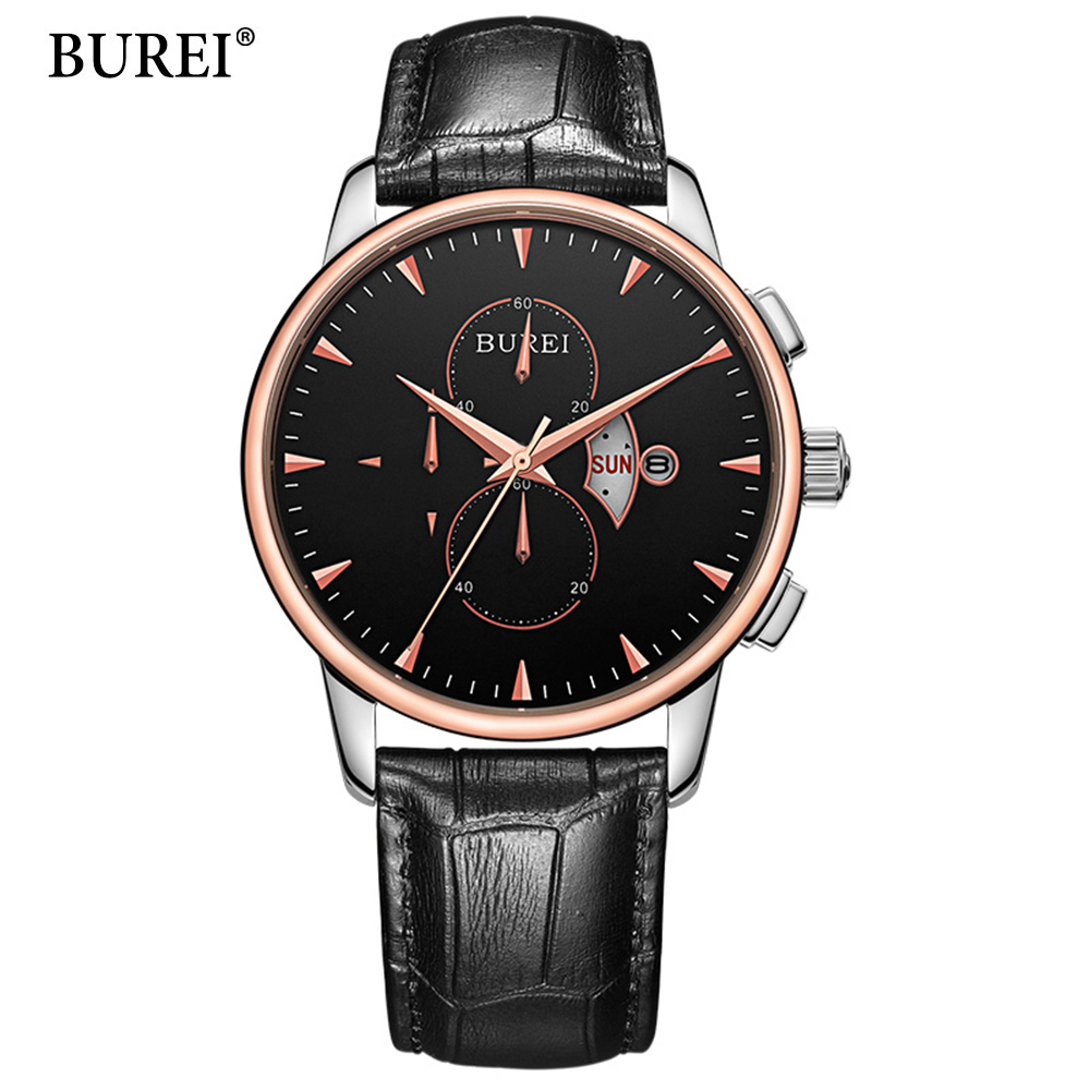 Casual Mens Watches Top Brand Luxury Men's Quartz Watch Waterproof Sport Military Watches Men Leather Relogio Masculino BUREI casual mens watches top brand luxury men s quartz watch waterproof sport military watches men leather relogio masculino benyar