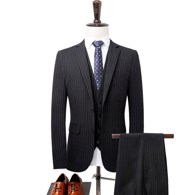 2018 los hombres rayados Trajes marca de calidad superior traje para hombre  slim fit boda novio e440bd65300a