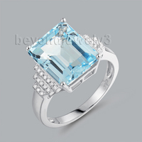 Rings For Women Natural Gemstone Blue Topaz Ring Jewellery Emerald Cut 10x12mm Solid 14K White Gold Genuine Diamonds Jewelry