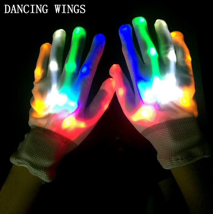 Apparel Accessories Ingenious 2pairs/pack Magic White Glove Rainbow Flash Fingertip Led Gloves Halloween Unisex Light Up Glow Stick Gloves Mittens Promote The Production Of Body Fluid And Saliva
