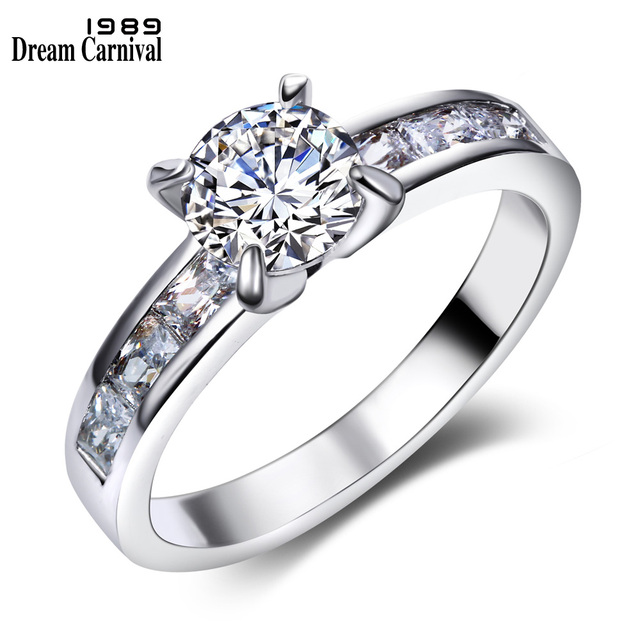 DreamCarnival1989 Solitaire Ring for Women Engagement CZ Wedding Fashion Jewelry