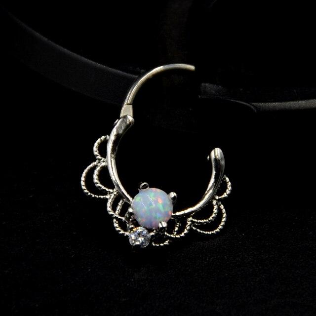 BOG-1pcs Lacey opale draperie royauté articulé Septum Rook anneau de nez anneau titane arbre 16G boucle doreille Piercing bijoux