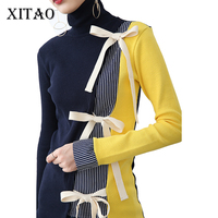 [Xitao]ヨーロッパと米国風女性プルオーバータートルネック長袖セーター縞模様のセーターニットセーター弓ネクタイHRG002
