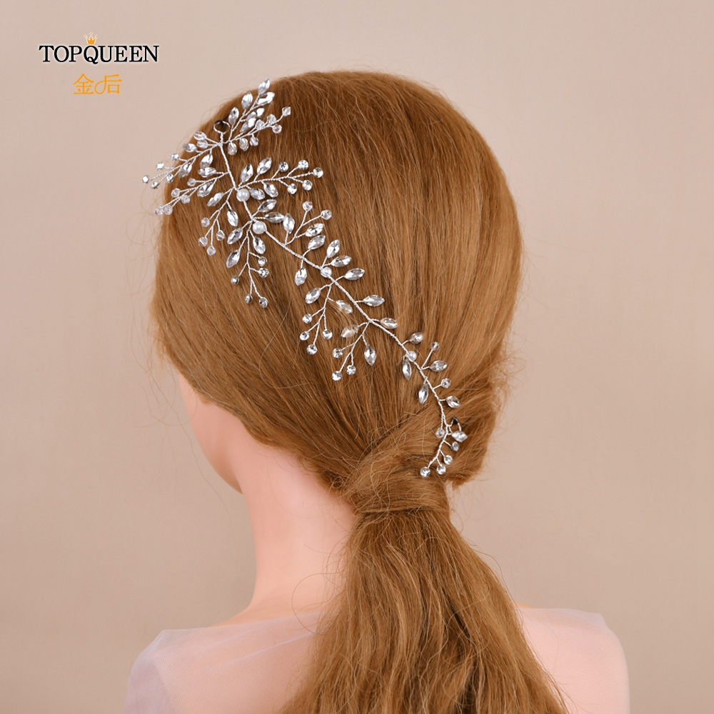 TOPQUEEN Wedding Party Headdress Wedding Hair Accessories Wedding Fascinator Crystal Rhinestone Wedding Headpieces HP21-S