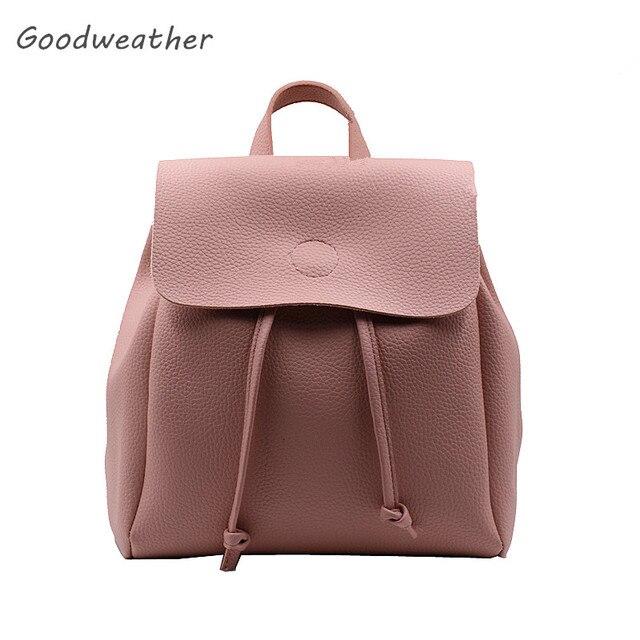 b463c4f0d0c3 Дизайнер женщин небольшой шнурок рюкзак с крышкой высокого качества мягкий розовый  кожаный рюкзаки случайные сумки на