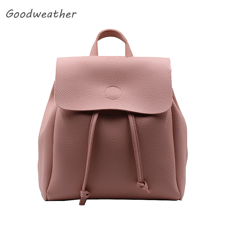 Designer women small drawstring backpack with cover high quality soft pink leather backpacks travel casual shoulder