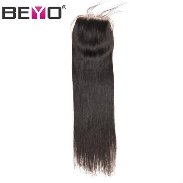 Beyo 4 x 4 Straight Human Hair Closure Free/Middle/Three Part Peruvian Hair Lace Closure With Baby Hair 10 24 Inch Non Remy Hair